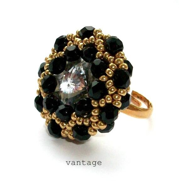Ring, Beaded Statement Ring, Black & Gold, Swarovski Crystal, Adjustable Ring Band, Trinket Ring