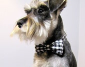 Gingham - Bowtie Adjustable Dog Collar - playfulpup