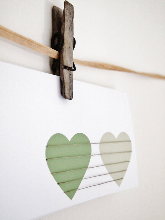 Hand Sewn Card - Pair of Love Hearts, shades of green