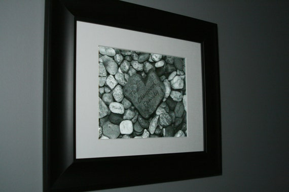 Family Tree, Personalized Heart Rock Garden 8x10 black & white print....Gift for Mom, Dad, Gift for Parents, Gift for Grandparents