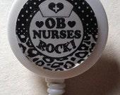 Retractable ICU Nurse ID Badge Reel With Swivel Spring Clip Black or White