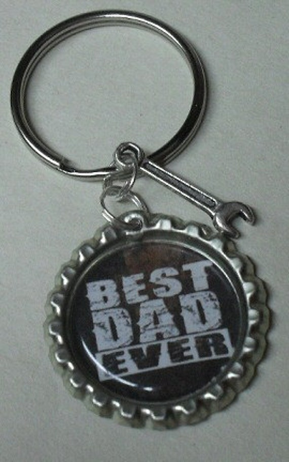 Dad Keyring Key Chain Bottle Cap With Tool Charm