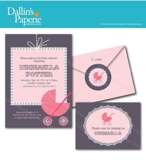Pink Lace Stroller Baby shower Invitation - Thank your card - labels - DIY Printable - Customized