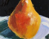 Spring Sale - Pear Still Life Painting Original on Wood panel kitchen art 6x6 inch