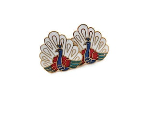 Vintage 1980's Cloisonne Peacock Clip-on Earrings