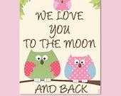 Girls nursery art, owls family, we love you to the moon, pink green nursery, children art