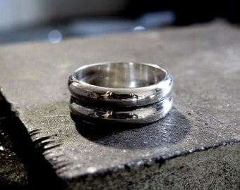Simple, Masculine Ring made with 100% Recycled Sterling Silver - Size 9.5 FREE SHIPPING. For Him, Mens Ring, Eco Friendly Jewelry (R031)