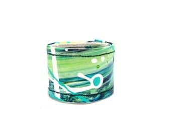 Turquoise Green Organic Hemp Cuff Bracelet Wrist Band - Tiny Cuff - Kids - Children - Hand Painted Unique Cuff - Hemp Cuff