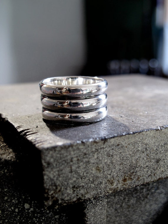 Triple Band Modern Guys Ring - Masculine Contemporary Style, Size 10 Oxidized Sterling. Handmade with 100% Recycled Sterling Silver