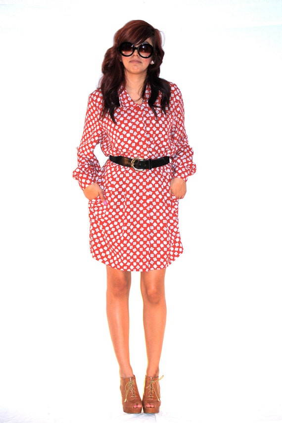1970's Red & White Patterened Long Sleeve Dress