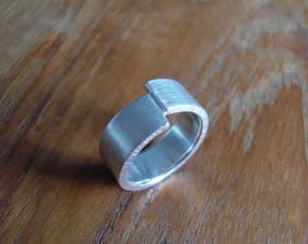 Silver Seam Drift Ring Handmade from Recycled Sterling Silver
