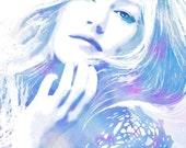 Indigo Blue Hues- Watercolor Fashion Illustration Harper's Bazaar Gisele Fine Art Print