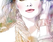 Exotic Efflorescence - Watercolor Fashion Illustration Print