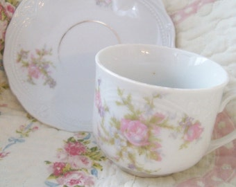 Tea Cup and Saucer Set  Kahla Germany Pink Rose Shabby Chic