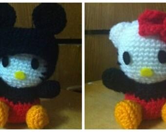 Instant Donwload Kitty Mickey Crossover - Amigurumi crochet Kitty Mickey doll pattern / PDF