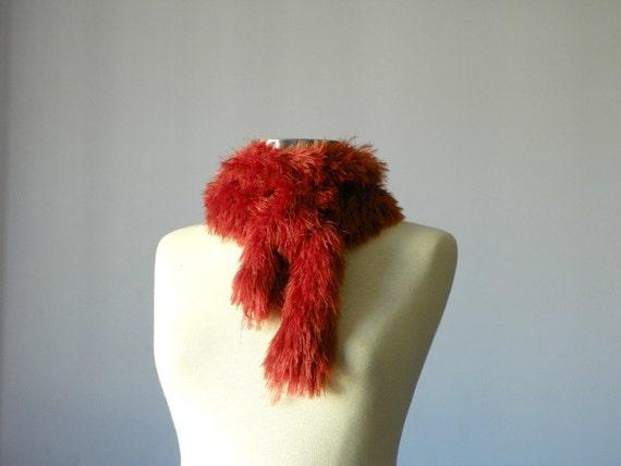 Knitted scarf softrabbit hair yarn- handmade neckwarmer autumn women accessories, fall fashion