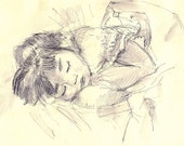 Baby girl sleeping, pen and ink wash, giclee, nursery room art, children room art, wall decor, wall Art Print  8.5x11 Wall Decor Gift Idea