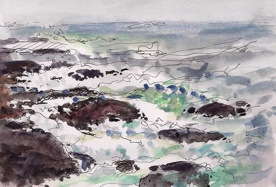 Landscape painting fine art print, pen and ink, rocks,  light green, 8.5x11 of of epic waves in Jamestown, Rhode Island, New England Artist