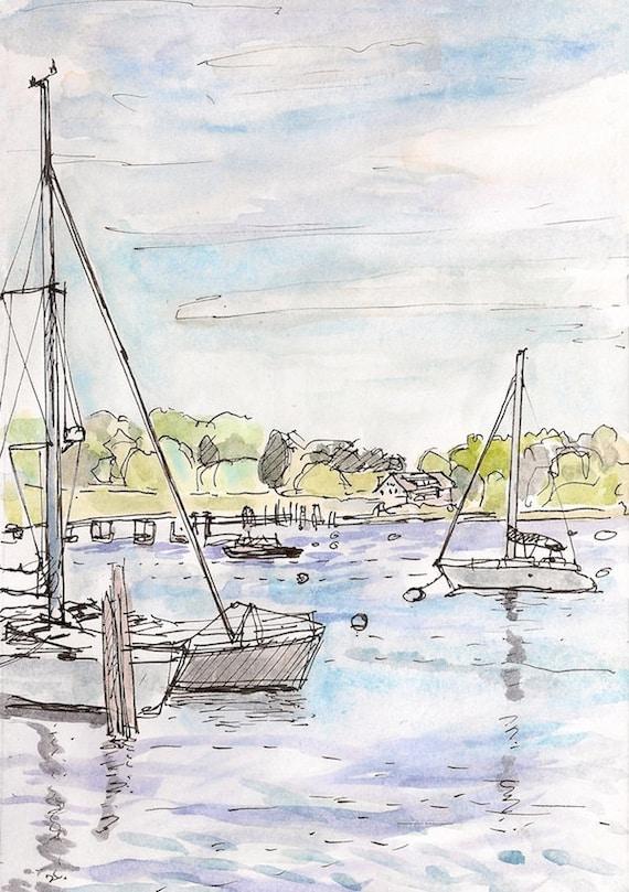 Fine art landscape painting, giclee print of Sailing Boats, Rhode Island  8.5x11 boats sailboats at harbor New England Art ocean sea harbor