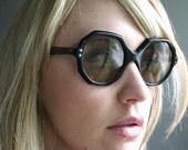 Vintage 50's Oversized Black Angular Sunglasses