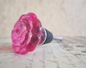 Wine Bottle Stopper - Pink Glass Flower Wine Stopper