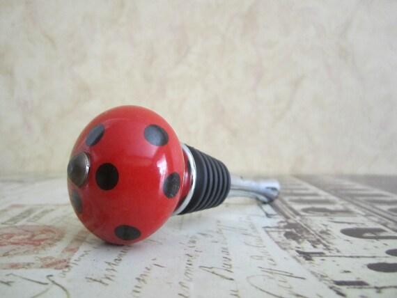 Wine Bottle Stopper - Red and Black Polka Dot Wine Stopper