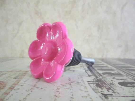 Wine Bottle Stopper - Pink Metal Flower Wine Stopper
