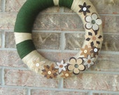 """Tan and Olive Yarn Wreath With Neutral Flowers  """"""""""""""""""""""""FREE SHIPPING"""""""""""""""""""""""