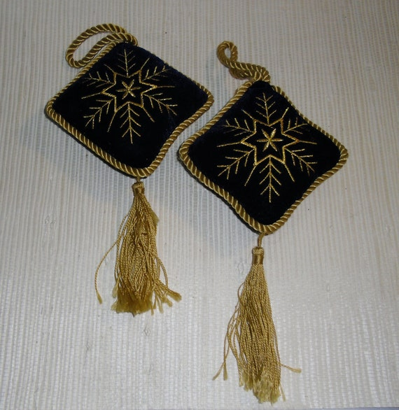 Vintage Blue Velvet Ornaments with Gold Cord Trim, Tassels and Embroidery