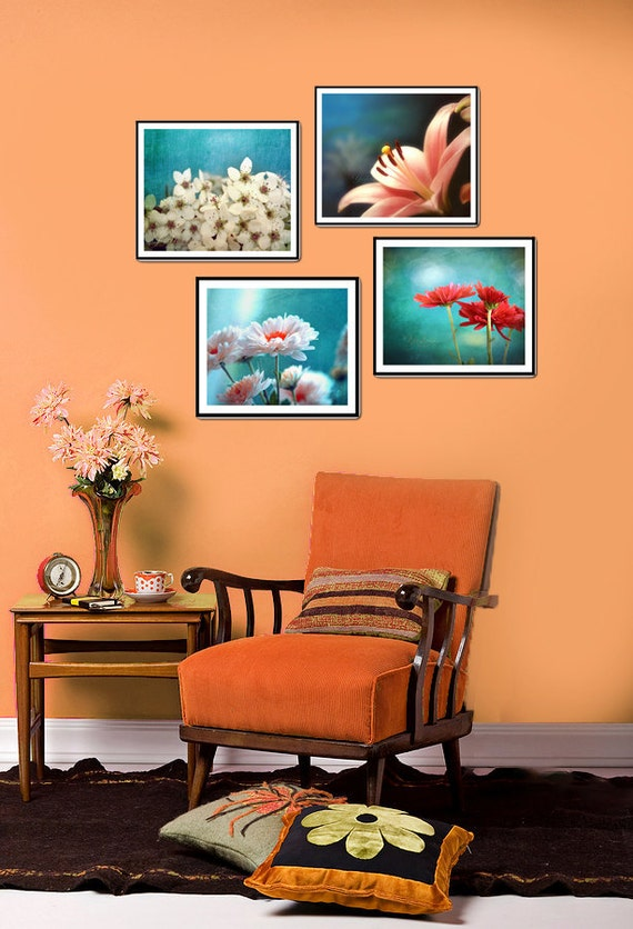 Bouquet of Flowers -Fine art photography prints of flowers on blue toned backgrounds. Set of four prints.