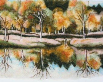 Needle felted Art Wall Hanging - An Autumn Landscape