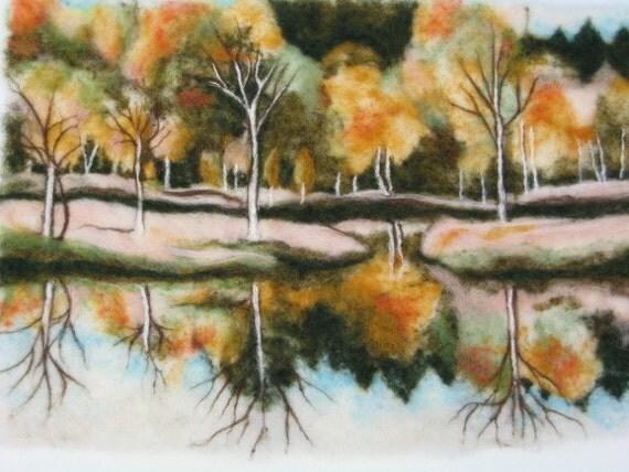 Needle felted Art Wall Hanging - An Autumn Landscape