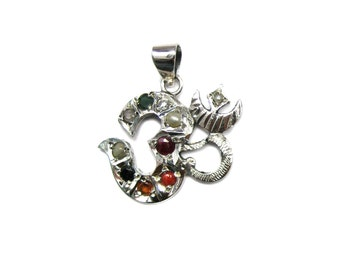 925 Sterling Silver Navratan OM Pendant Studded Precious Nine Planet Gemstones Religious Astrology Spiritual Locket Meditation Lucky Charm