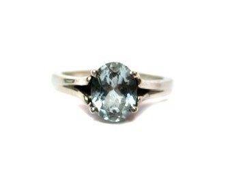 Sterling Silver Ring studded AAA Quality Faceted Aquamarine Gemstone , Rodhium Plated Genuine 925 Silver Ring