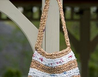 Brown Bag, White Shoulder Bag, Crochet Bag, Gifts for Women, White Tote, Brown Purse, Hand Bag, Handmade Bag, Beach Bag Women Bag Diaper Bag