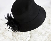 Reserved Vintage Banach Black Hat with Feathers // MINT