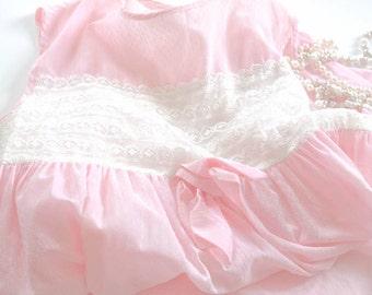 1950s Girls Dress - Pink Embroidered Polka Dot