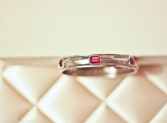 RESERVED - Art Deco NuWite c. 1930 Rhodium Hinged Bangle Bracelet with Pink Sapphire