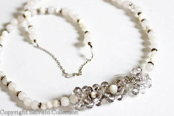 1930s Round  Quartz with Mother of Pearl  plus Crystallized Swarovski Beads