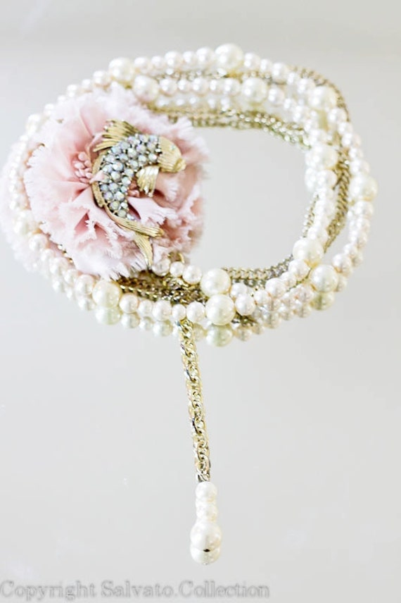 RESERVED Double Strand Gold with Pearls Necklace //  Pink Flower // Aurora Rhinestone Fish Brooch
