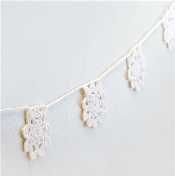 Felted Snowflake Garland, Crocheted Snowflakes, Wool Bunting, READY TO SHIP Home Decor