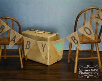 Baby Boy Burlap Banner / Maternity Photography Prop / Baby Shower Decoration