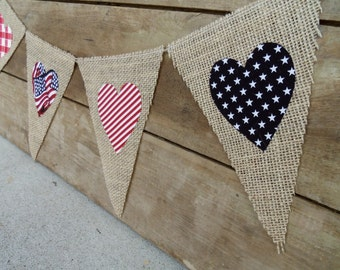 4th of July Patriotic Burlap Banner Bunting / Memorial Day Decorations / Photography Prop