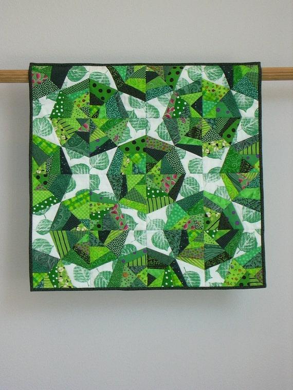 Green Webs wall quilt