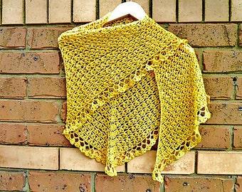 CROCHET PATTERN - Crochet Shawl - crochet shawlette pattern - Crochet long Scarf - Neckwear pattern - Simple  crochet diy - Easy Crochet DIY