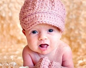 Little Newsgirl Baby Hat, Crochet Newborn Cap with Brim