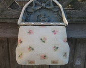 1950's Lumured Petite Beaded Purse White with Pink and Green Flowers