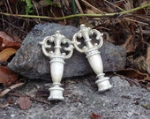 Shabby Chic Finial Pair Urn Shaped Finery in Off White