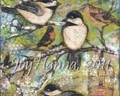 Bird Art Print - Birds of Winter Chickadees 8x10 Art Print from mixed media original collage of songbirds on snowy tree branches