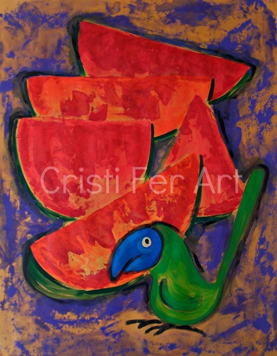 Acrylic painting with exotic blue green parrot bird watermelon melons red fruit still life acrylic artwork wall art home décor